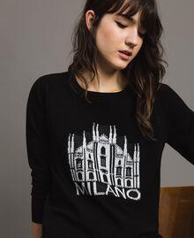 Pullover mit Mailand-Intarsie Schwarz Frau 191TP3382-04