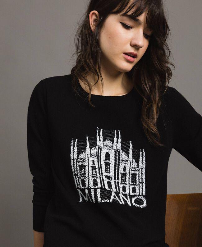 Milan themed inlay top Black Woman 191TP3382-04
