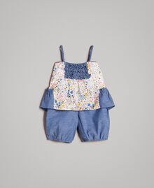 Top e shorts in chambray con stampa Stampa Stelline Bambina 191GB2530-01