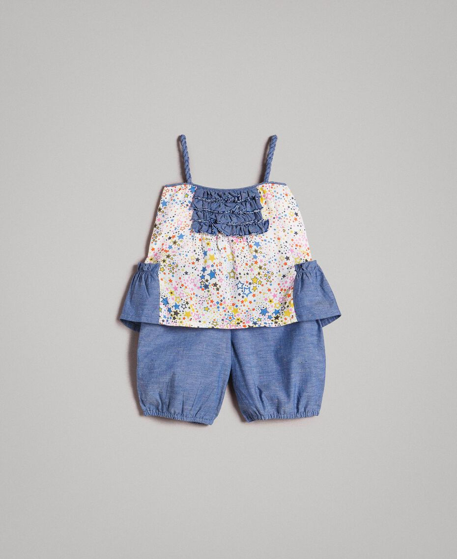 Chambray top and shorts with print Mini Stars Print Child 191GB2530-01
