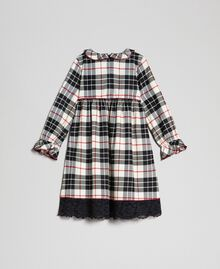 "Check dress with lace ""Snow"" White Tartan Jacquard Child 192GB2680-0S"