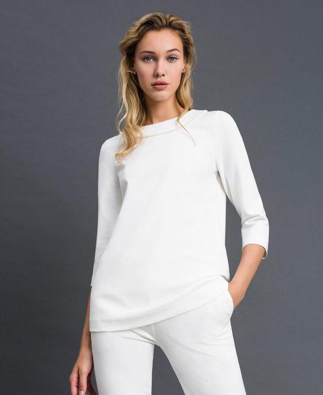 Blusa con ricamo di perle Bianco Neve Donna 192TP2080-01