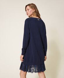 Knitted dress with lace hem Blackout Blue Woman 202LI3RFF-04