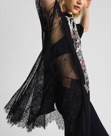 Асимметричная футболка с принтом и кружевом Черный женщина 192MP2434-04