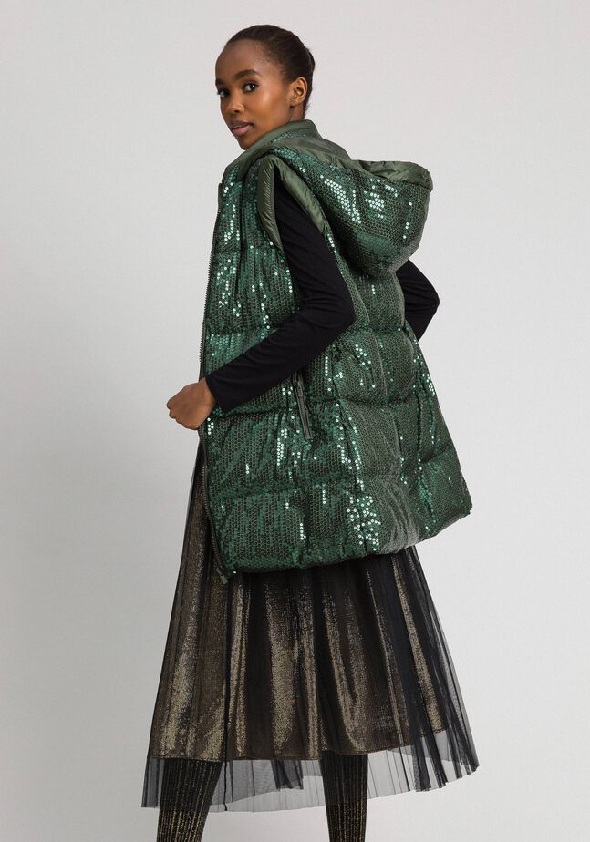 Padded waistcoat with sequin embroidery