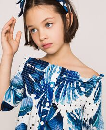Tropical print dress Blue Polka Dot Tropical Print / Vichy Child 201GJ2302-04