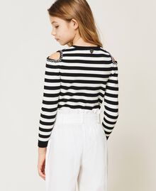 Striped jumper with cut-out and chains Off White / Black Stripes Child 211GJ350A-03