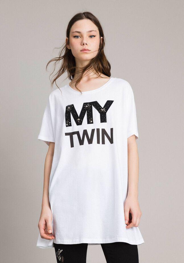 Maxi T-shirt con logo e ricamo