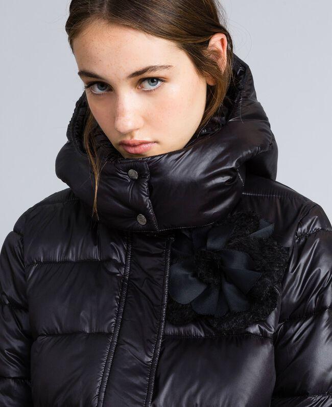 Long nylon padded jacket Black Woman YA82AB-04