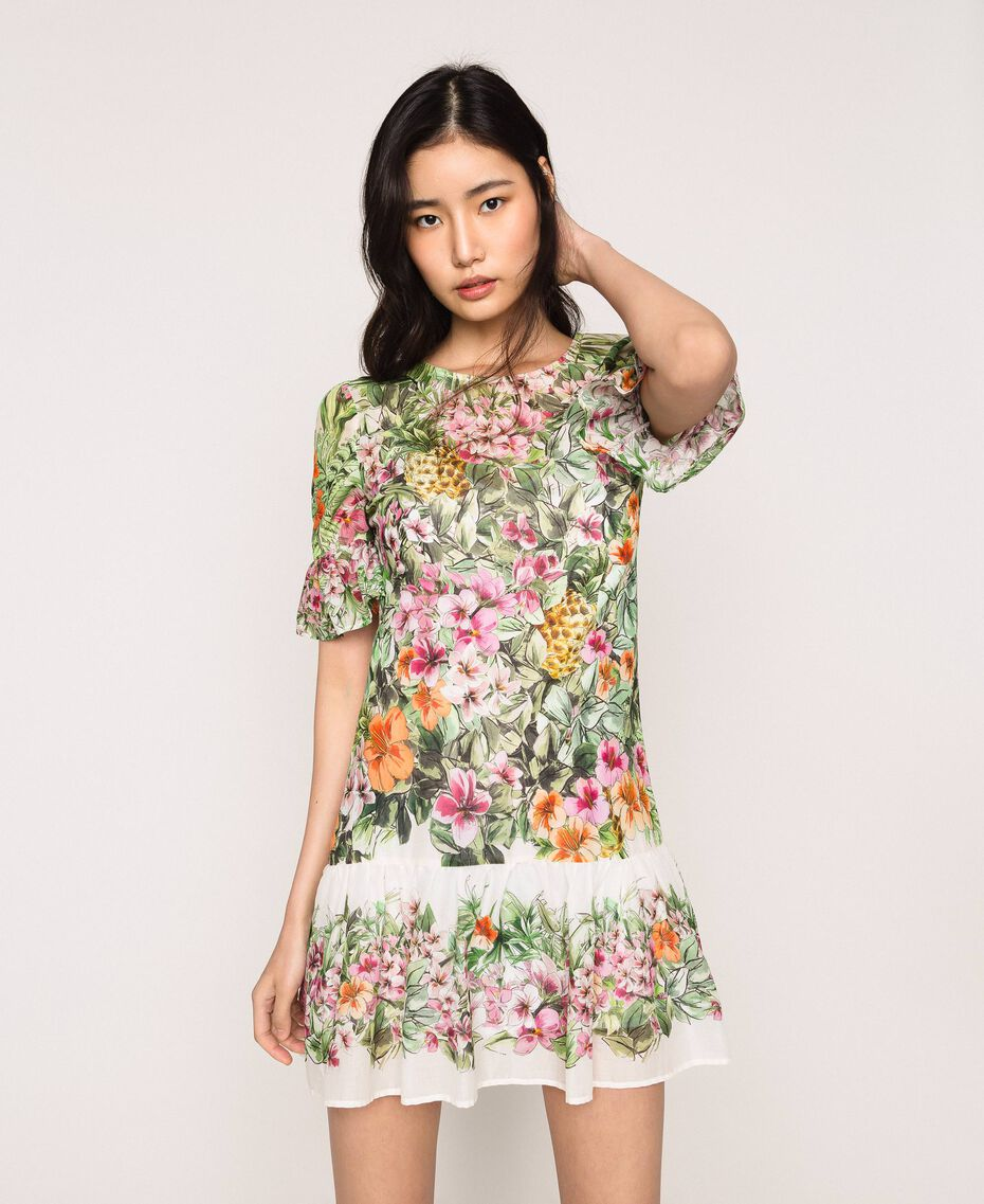 Vestido con estampado de flores Estampado Jungle Flowers Nieve Mujer 201TT2482-01