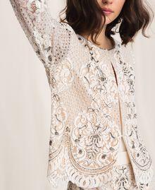 Jacke aus Spitze mit Stickereien Elfenbein Frau 201TP2460-05