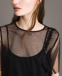 Tulle blouse with patch embroidery Black Woman 191MP2131-04