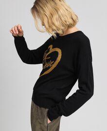 Pullover mit Jacquardintarsie und Logo aus Lurex Schwarz / Safrangelb Frau 192MP3081-01