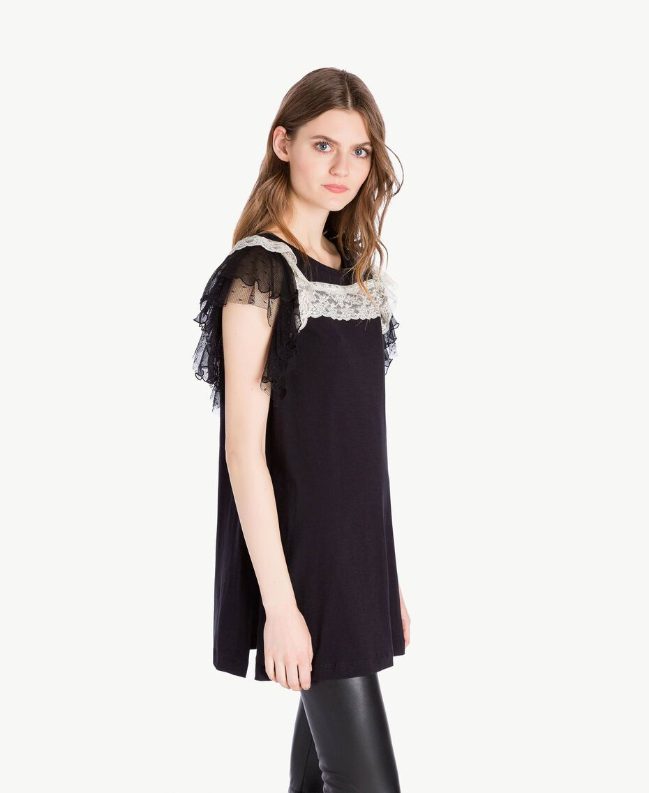 Maxi t-shirt pizzo Nero Donna PS82UD-02
