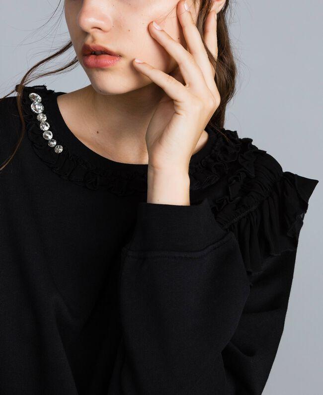 Cotton sweatshirt with georgette inserts Black Woman PA82CB-04