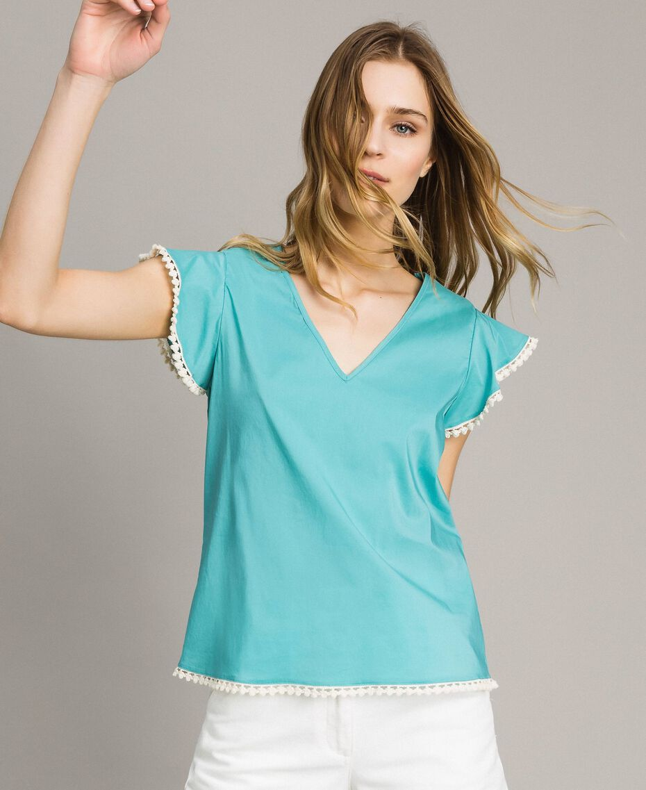 Camiseta de popelina Azul Mousse Mujer 191LB2JDD-01