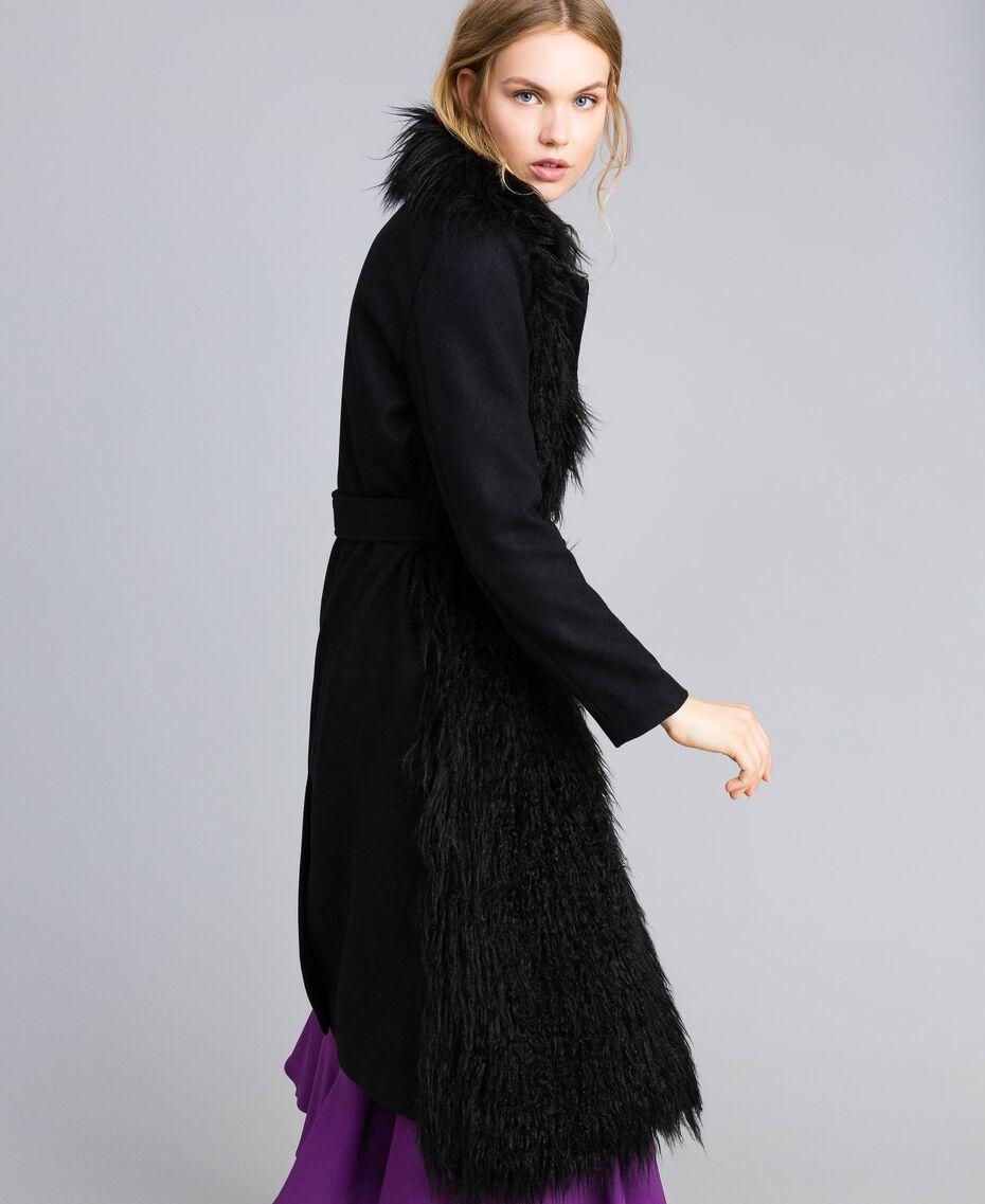 Manteau long en drap et fausse fourrure Noir Femme TA82A5-01