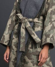 Camouflage wool cloth coat with fringes Camouflage Jacquard Woman 192TT2502-05
