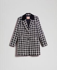 Mantel aus Bouclé mit Hahnentrittmuster Hahnentritt Schwarz / Weiß Frau 192TP2630-0S