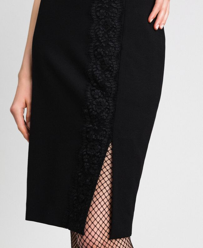 Mid-length skirt with lace Black Woman 192TP2095-04