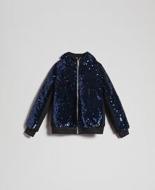 Bomber in velluto con paillettes Blue Night Bambina 192GJ2090-0S