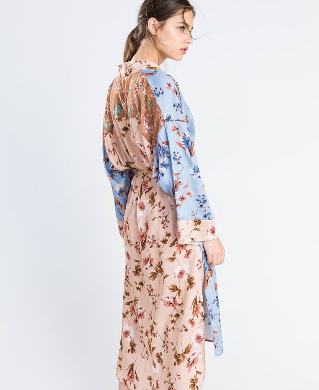 Long floral print dressing gown Pink Flower Mix Print Woman IA8EVV-03