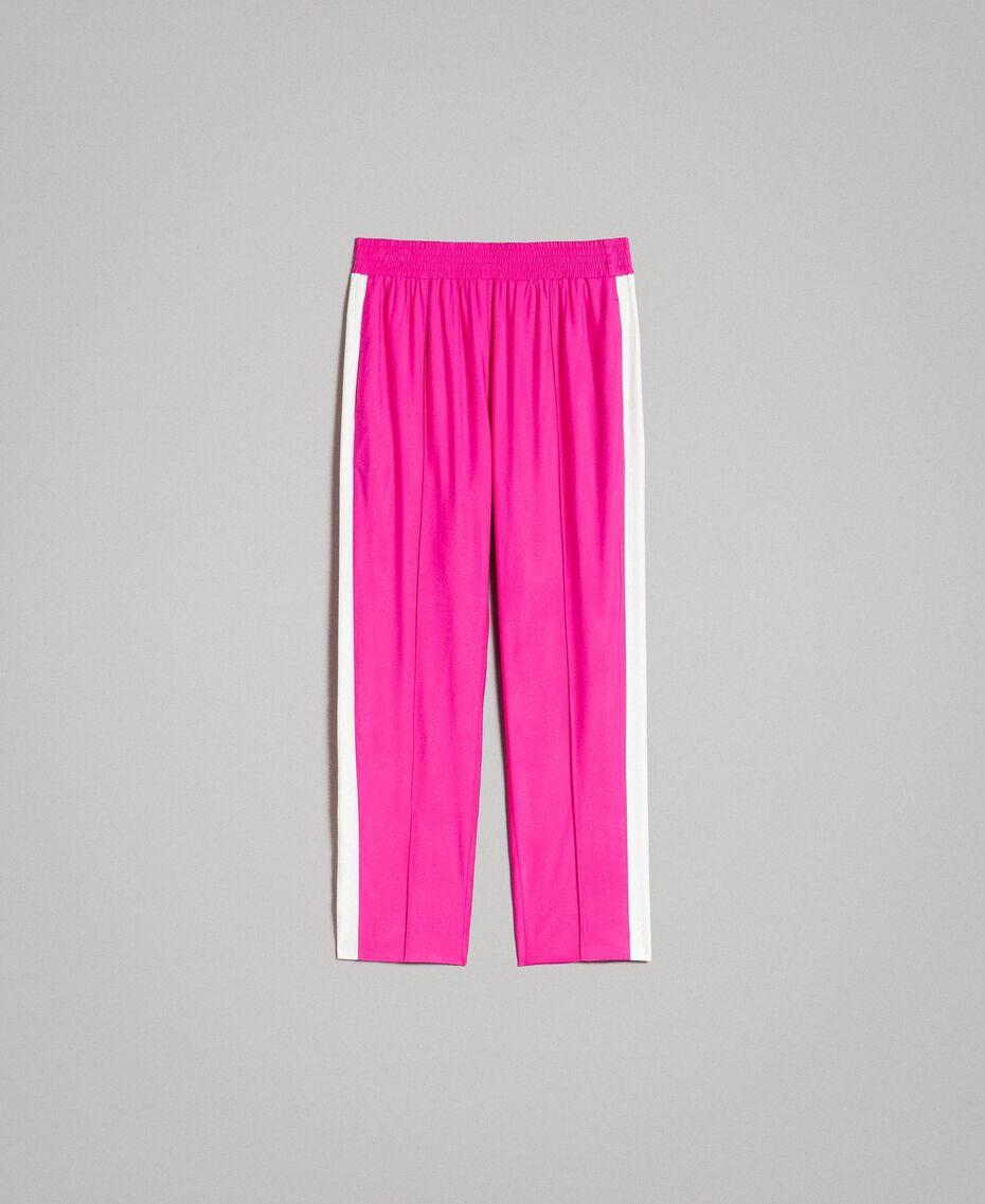 """Georgette-Hose Zweifarbig """"Electric Pink"""" / Seidenweiß Frau 191TP2328-0S"""
