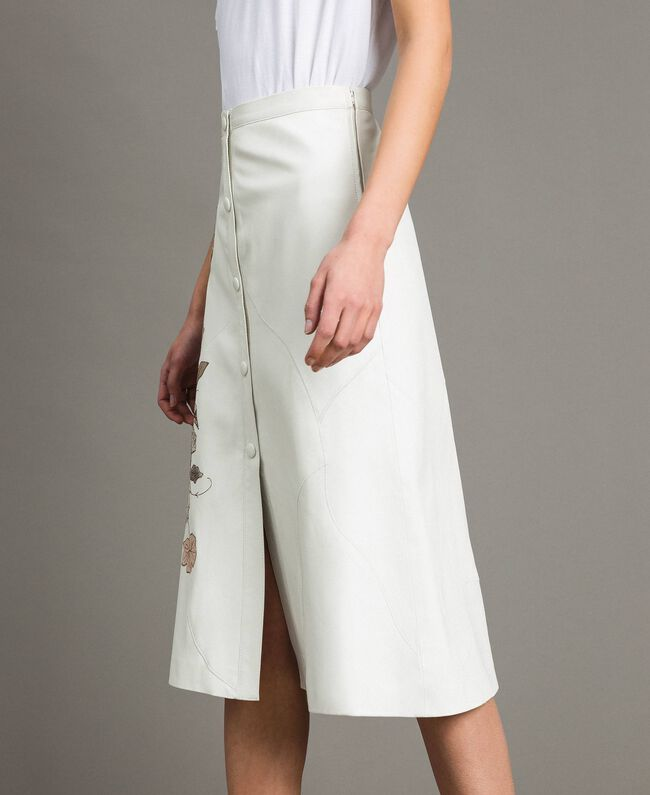 Leather skirt with patch embroidery White Snow Woman 191TT2172-03