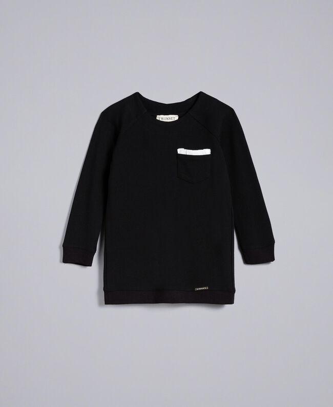 Maxisweatshirt aus Interlock-Jersey Zweifarbig Schwarz / Off White Kind FA82FP-01