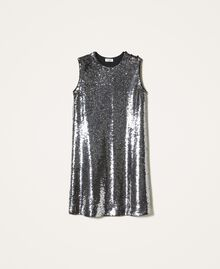 Платье, полностью украшенное пайетками Серый Оружейный ствол женщина 202ST2140-0S