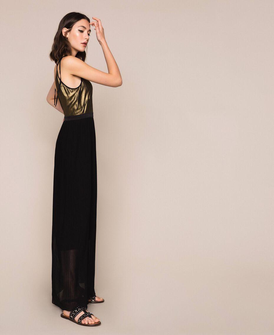 Длинное платье с плиссированной юбкой Черный женщина 201LB22GG-02