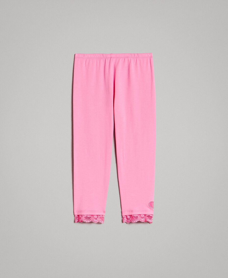 """Jersey leggings with lace """"Crystal Pink"""" Child 191GJ2183-01"""