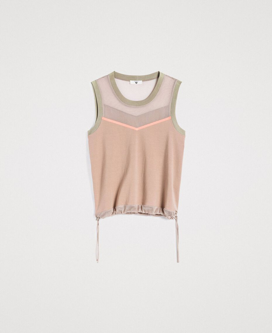 """Top with mesh insert """"Grey Dust"""" Woman 191LL23UU-0S"""
