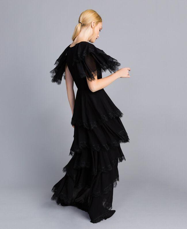 Robe longue en crêpe georgette volanté Noir Femme TA828E-01