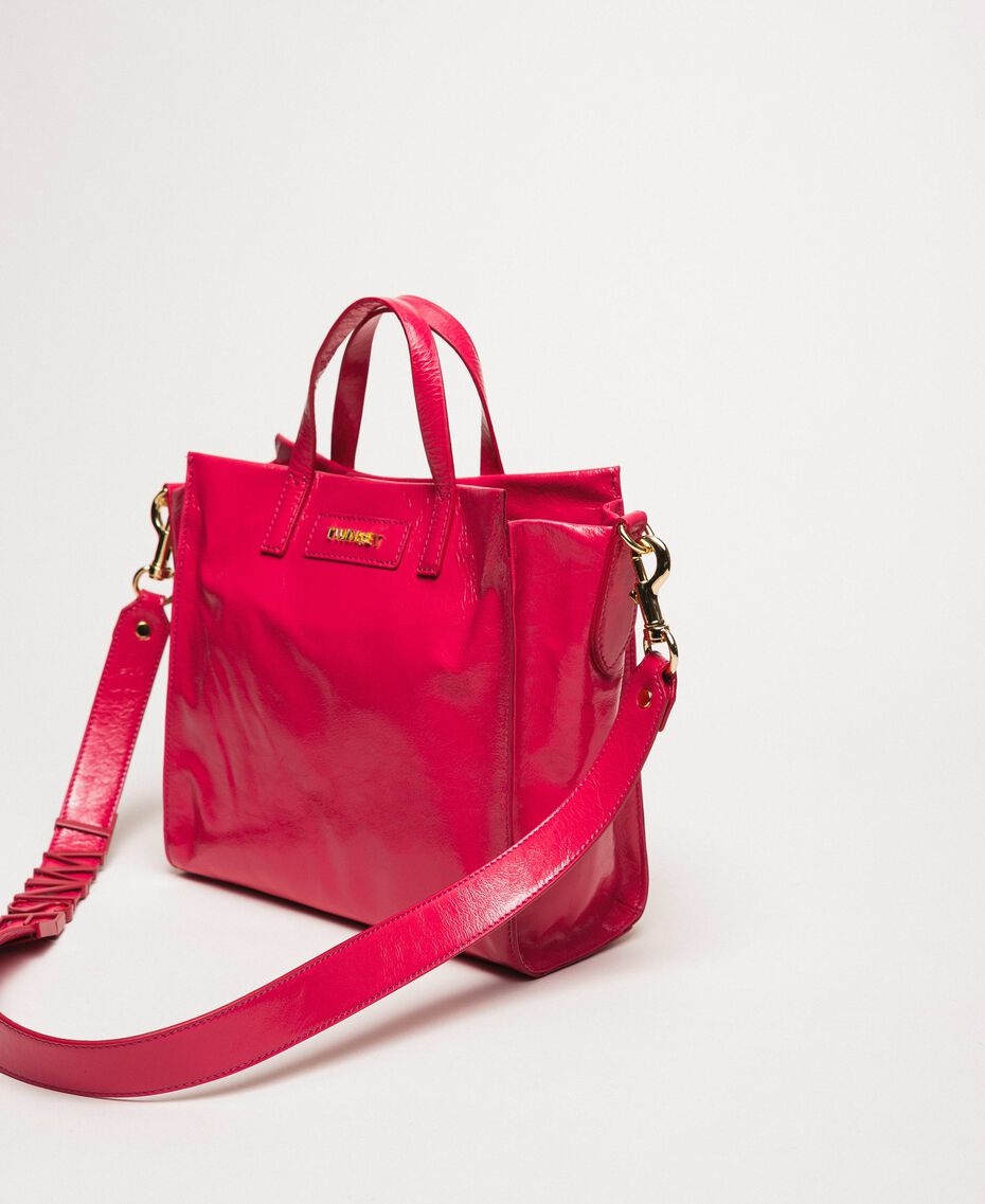 """Medium leather shopper with logo """"Jazz"""" Pink Woman 201TO8091-01"""