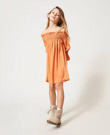 Robe épaules dénudées en crêpe georgette Orange «Iceland Poppy» Enfant 211GJ2QA2-01