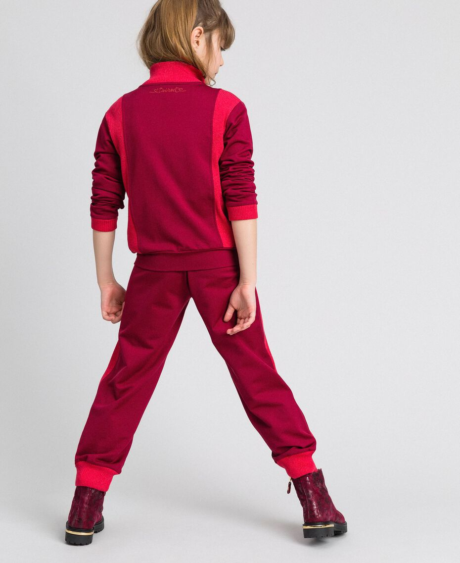 "Colour block sweatshirt with zip and jogging trousers Ruby Wine / ""Candy"" Fuchsia Child 192GJ2240-05"