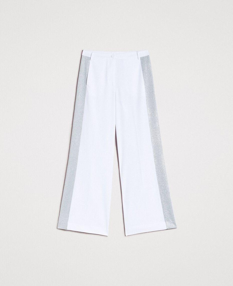 Pantalon palazzo avec panneaux en lurex Blanc Femme 191LL25BB-0S