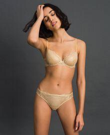 Laminated lace Brazilian briefs Gold Yellow Woman 192LL6H77-02