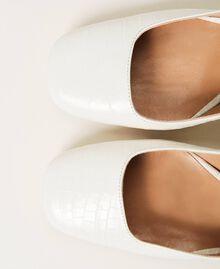 "Leather court shoes with crocodile print ""Snow"" White Crocodile Print Woman 202TCP076-04"