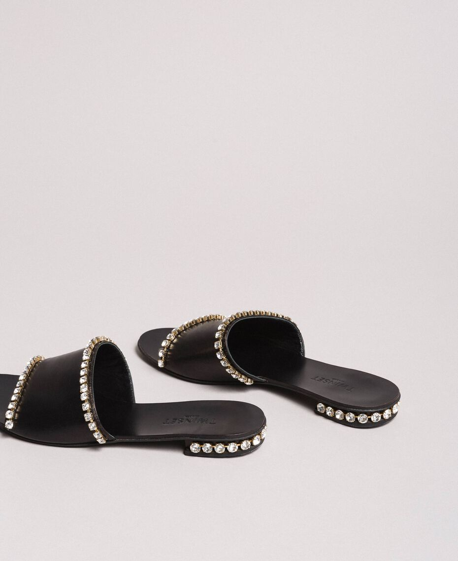 Leather sandals with rhinestones Black Woman 191TCT094-03