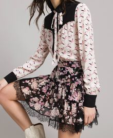 """Minivolantrock aus Georgette mit Blumen Motiv """"Pink Bouquet"""" Pink Schwarz Frau 191TP2714-01"""