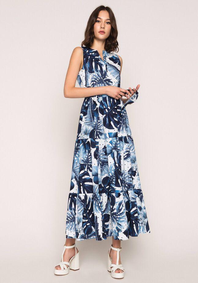 Длинное платье из набивного поплина