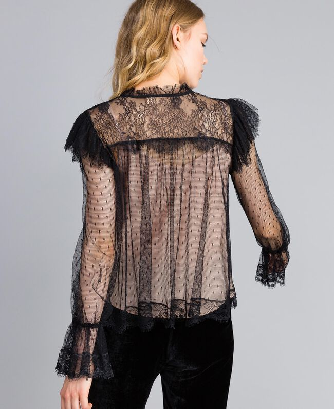 Tulle plumetis and lace blouse Black Woman TA82XE-03