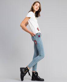 Jean skinny en denim avec patchs Bleu Denim Femme YA82Y1-02
