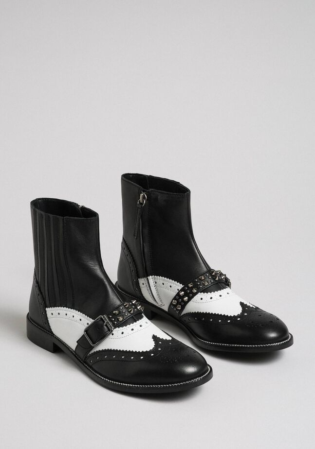Leather ankle boots with studded straps