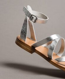 Laminated leather sandals with straps Silver Woman 191TCT09W-03
