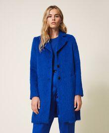Mantel aus gerautem Tuch Dunkles Kornblumenblau Frau 202TP2602-02