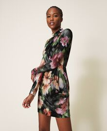 "Floral velvet sheath dress Black / ""Peach Pearl"" Floral Print Woman 202TT2361-03"