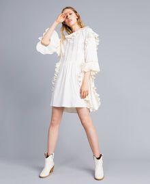 Robe courte en soie mélangée avec plissé Blanc Neige Femme TA823P-01